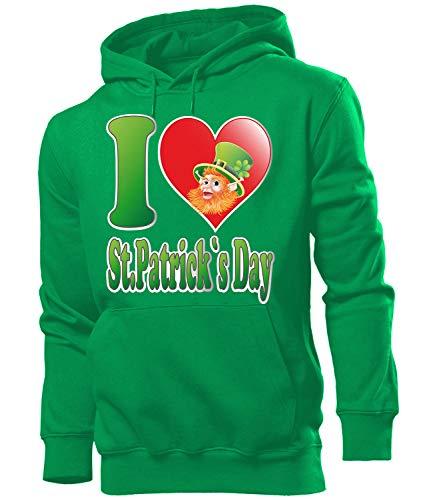 St Patricks Day Kostüm 2728 Männer Costume Clothes Oberteil Green Hoodie Verkleidung Herren Kapuzen Pullover Sweatshirt Pulli Grün XL