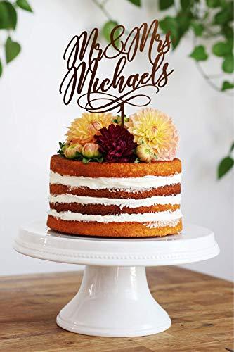 rs Mr and Mrs Cake Topper Michaels Custom Wedding Toppers Braut und Bräutigam Name Kuchen Topper Boho Hochzeit Cake Topper ()