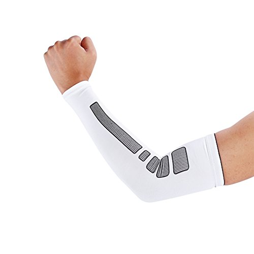 VGEBY 1 Paar Armbandage Kompressions-Ellenbogenbandagen Arm Sleeve Ellenbogen Schoner UV-Schutz Atmungsaktiv Herren Damen für Outdoor Basketball, Joggen, Fitness Sport (Farbe : Weiß, Abmessung : L)