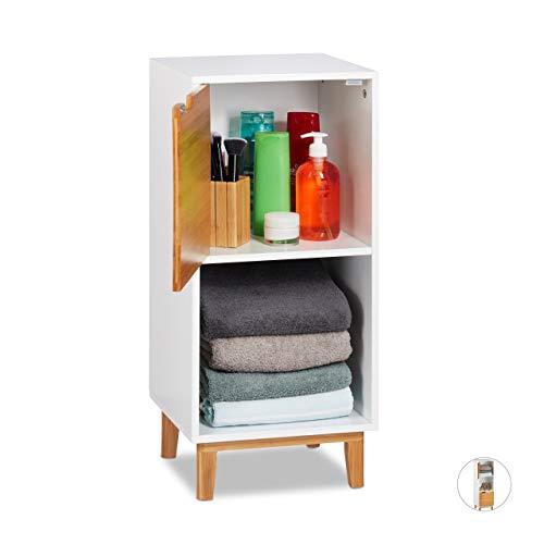 Relaxdays Standregal weiß, Beistellschrank aus MDF und Bambus, Wohnzimmerregal, skandinavisch, HBT 71x32x30 cm, White