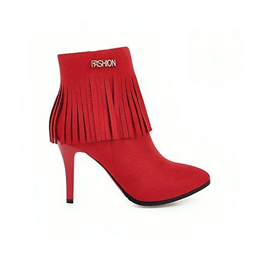 AllhqFashion Damen Hoher Absatz Eingelegt Niedrig-Spitze Stiefel, Rot, 37