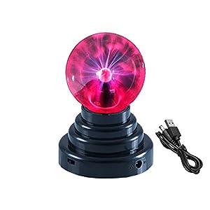 Juguetrónica -Bola de plasma USB de color negro. Funciona con pilas o con USB (cable incl.)