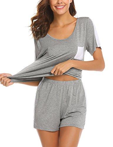 UNibelle UNibelle Damen Schlafanzug Kurzarm Baumwolle Shorty Hose 2tlg Pyjama Set Tops Nachtwäsche Shirt Shorts Sommer Nachthemdgrau s