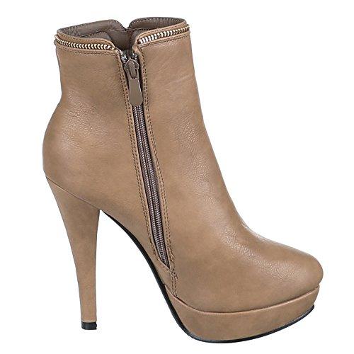 Zh616 Schuhe Damen Braun Ankle Boots Beige 1TBBFn6x