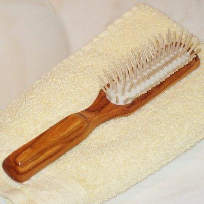ProPassione Brosse à cheveux pneumatique en bois d'olivier, oblongue, picots bois, dimensions: L 20 x l 3,5 cm