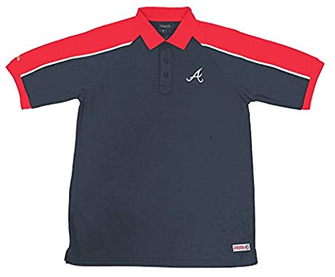 MLB Atlanta Braves Color Blocked Polo with Lined Mini Mesh Panels, Navy, Medium