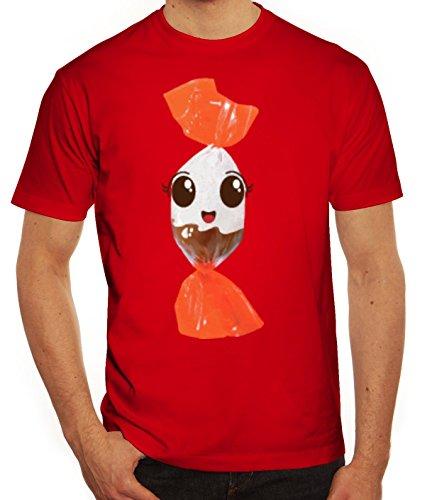 Fasching Verkleidung T-Shirt Gruppen & Paar Kostüm Schoko BonBon Kostüm, Größe: 3XL,Rot (Coole Ideen Gruppe Halloween Kostüme)