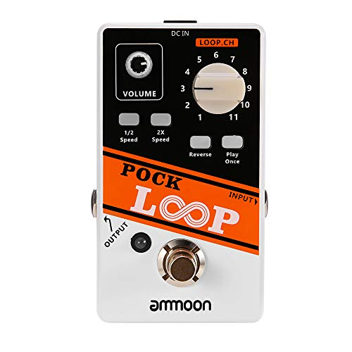 ammoon Gitarre Looper POCK Looperpedal Effektpedal 11 Loopers Max. 330 Minuten Aufnahmezeit Unterstützt 1/2 & 2X Speed Playback Reverse-Funktionen