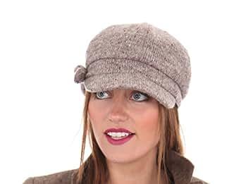 Socks Uwear Baker Boy Sally Casquette à visière en tricot Bonnet d'hiver Gris chiné