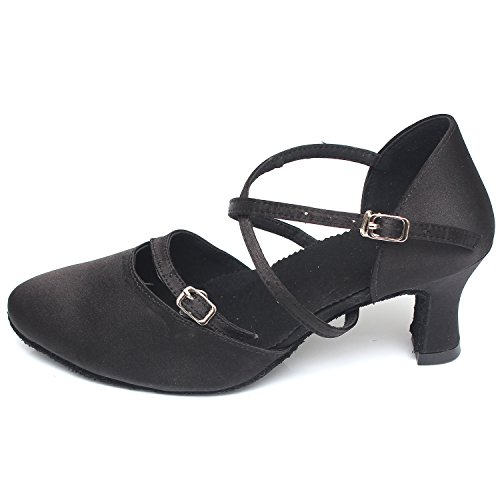 Azbro Women's High Heels Soft Sole Waltz Dance Shoes Black