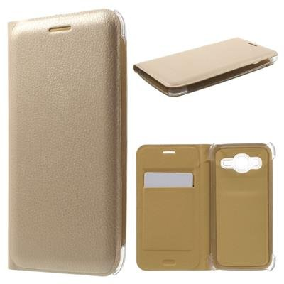 Golden Full Leather Flip Cover For Micromax Canvas Fire 5 Q386