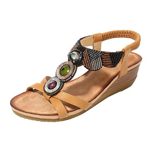 WUDUBE Bohème Dames Strass Fait à la Main perlé Sandales Style Ethnique Talon compensé Sandales Plates Plage élastique Ouvert Sandales
