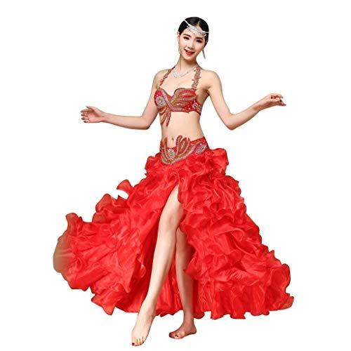 Sie Passen Kostüm Eigenen Ihre Tanz - Bauchtanz Performance Kleidung Damen Bauchtanz Rock BH Und Gürtel Super Langen Rüschenrock Bauchtanz Kostüm (Color : Red, Size : L)
