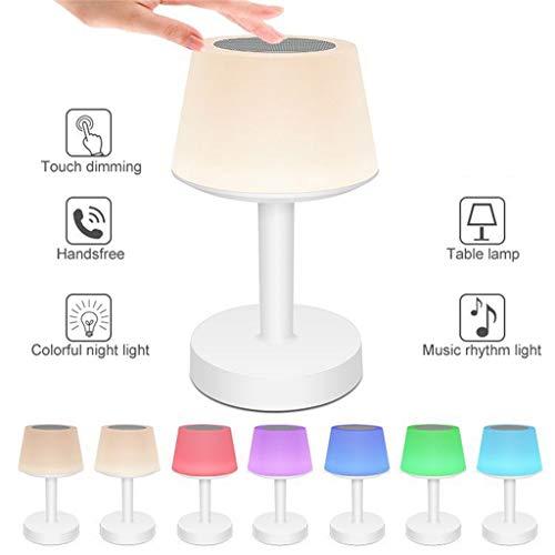 Webla Dekolichter, multifunktionale Tischleuchte mit Musik für 7-farbig einstellbare Bluetooth-Lautsprecher, 14X14X22CM -