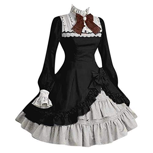 me Lolita Gotische Kleider, Rovinci Retro Mittelalter Party Kostüm Kleid Spitze Renaissance Partykleid Abendkleider Cocktailkleid Süß Gothic Prinzessin Ballkleid mit Trompetenärmel ()