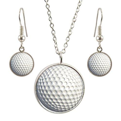 1StopShops Golf Ball Design Anhänger mit Silber vergoldet Halskette und passende Ohrringe Set