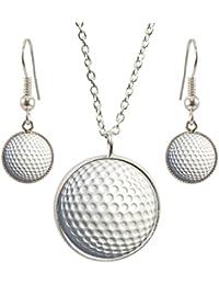 Golf Ball Design Anhänger mit Silber vergoldet Halskette und passende Ohrringe Set
