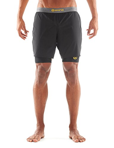 Skins Herren Shorts DNAmic Superpose Half Tights, Black/Citron, L, DA99051659238 (Herren Tight Running Shorts)