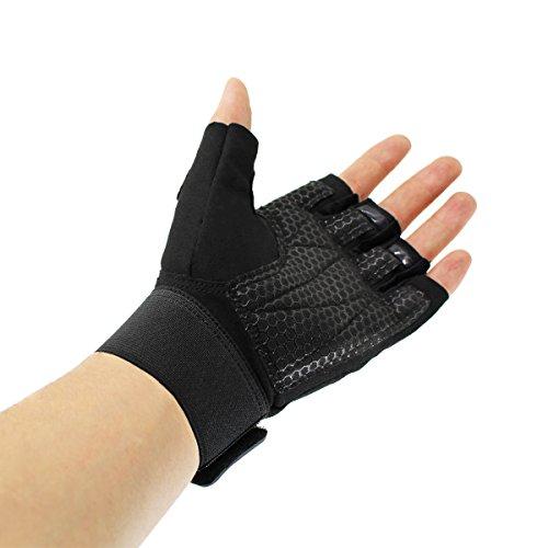 VIVENS Ultraleicht Fitness Handschuhe Trainingshandschuhe mit Adjustable Handgelenkstütze und Safe Geleinlage Silikon Palm für Krafttraining Gewichtheben und Bodybuilding Damen Herren (M, schwarz)