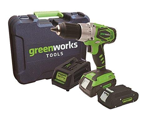 Greenworks Akkubohrschrauber Set 24 V, 2,0 Ah, max: 56 Nm mit Arbeitslicht inkl. 2x Akku, Ladegerät und Koffer