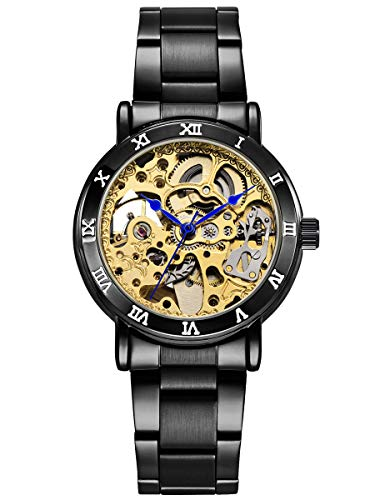 Alienwork Damen Herren mechanische Automatik-Uhr schwarz mit Edelstahl Metallarmband Gold Skelett