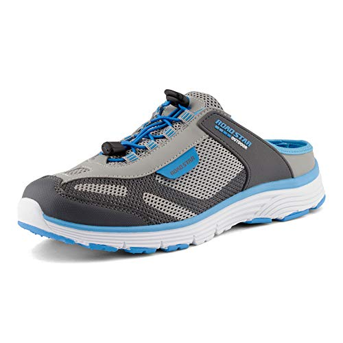 Fusskleidung Damen Herren Sabot Sneaker Sportschuhe Slip-On Clogs Pantoletten Freizeit Sandalen Grau Blau EU 43