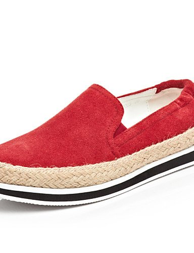 ZQ Scarpe Donna - Mocassini - Tempo libero / Casual - Comoda / Punta arrotondata - Piatto - Cashmere - Nero / Rosso , red-us8 / eu39 / uk6 / cn39 , red-us8 / eu39 / uk6 / cn39 red-us5 / eu35 / uk3 / cn34