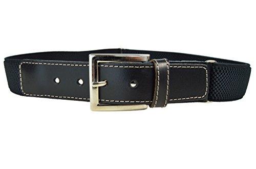 Olata cintura elasticizzata per bambini/ragazzi 8-15 anni, fibbia classica modello. nero