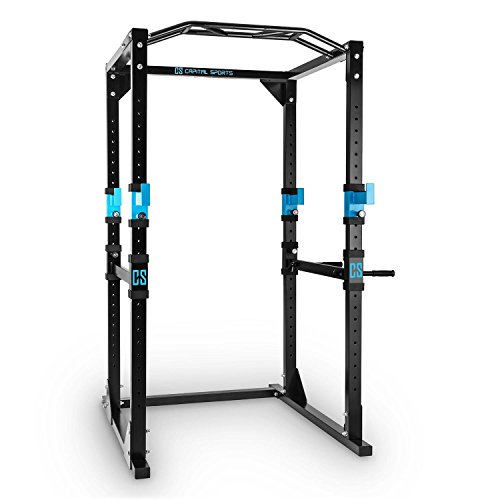 Capital Sports Tremendour Power Rack • Cage Squat • Station de Musculation • 2 x Safety Spotter: 20 hauteurs • 4 x J-Hooks • Barre de Traction multiprise • Construction Massive en Acier • Noir