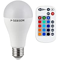 SEBSON® E27 LED Color, 15 RGB + Calido Blanca 2700K, regulable, Mando, 10W LED Bombilla