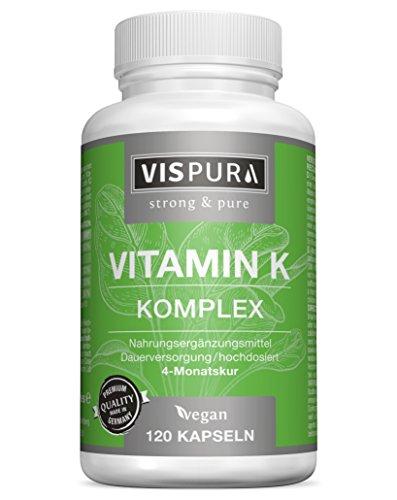 Vitamin K Komplex hochdosiert K1 1.000 µg + K2 Menaquinon (1.000 µg MK4 + 200 µg MK7) - 120 Kapseln vegan beste Bioverfügbarkeit ohne Trennmittel Magnesiumstearat, 30 Tage kostenlose Rücknahme!