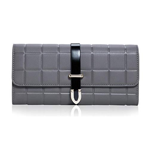 Damen Geldbörse Lange Damen Leder Geldbörse Damen Clutch Bag Geldbörse (Farbe : Gray, größe : One Size) -