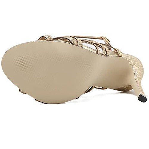 Oasap Golden Peep Hollow High Out Women's Heels Gladiator Toe Sandals WfvazW