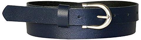 FRONHOFER Fine ceinture pour femme de 2,5 cm avec une boucle en fer à cheval couleur argent vieilli, ceinture en cuir bon marché, 17874, Taille:Taille 85 cm, Couleur:Bleu marine