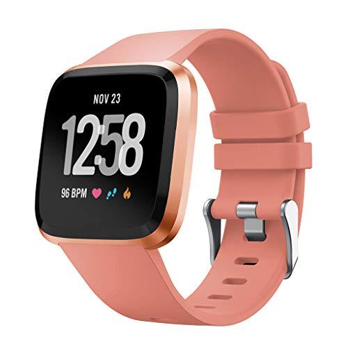 Takkar - Uhrenarmbänder für Fitbit Versa Lite Weiches Silikon Sportarmband Uhr Armband Ersatzarmband mit Edelstahl Schnalle Armband für Damen Herren
