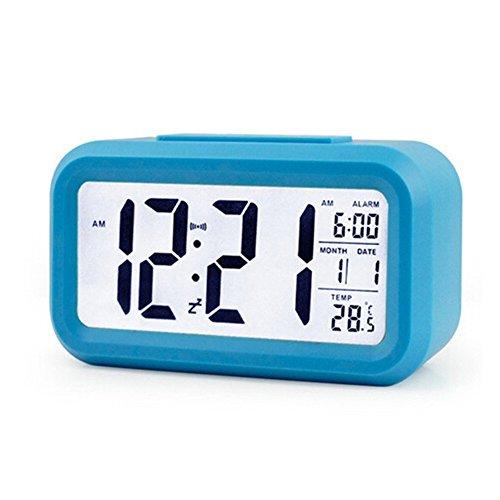 Avelaiva LED Leuchtend Intelligent Digitale Wecker Digitaluhr mit Extra Groß HD Anzeige Snooze Funktion Weich Licht Nachtsensor Einfach Rahmen Reisewecker Zuhause Uhr Multifunktional Datum Temperatur