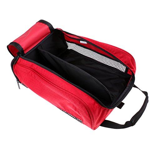 MagiDeal Schuhtaschen/Schuhbeutel/Organizer-Taschen aus Nylon mit Reißverschluss - für Fußball Schuhe, Golfschuhe, T-Shirts usw. - für Reisen und Sport - Rot