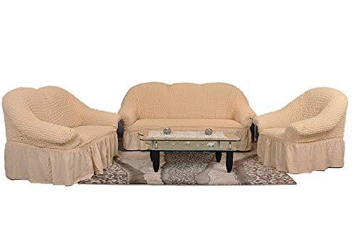 My Palace Stretch Sofabezüge 1er+2er+3er Sofaüberwurf 3 er Couchbezug Sofaschoner 3 teilig Couchschoner. Schutzbezug. Sofa Bezug Set Farbe: Natur/naturell/Natural/Sand -