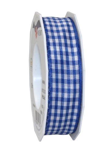 Präsent 25 mm 20 m Vichy - Kariertes Band mit Draht, blau (Blau-karo-band)