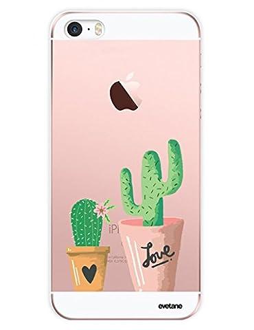Coque iPhone SE / 5S / 5 Plastique rigide, EVETANE® Coque iPhone SE / 5S / 5 Protection Tendance et Design Original [Cactus] [Collection Season] [Produit et Designé en France]