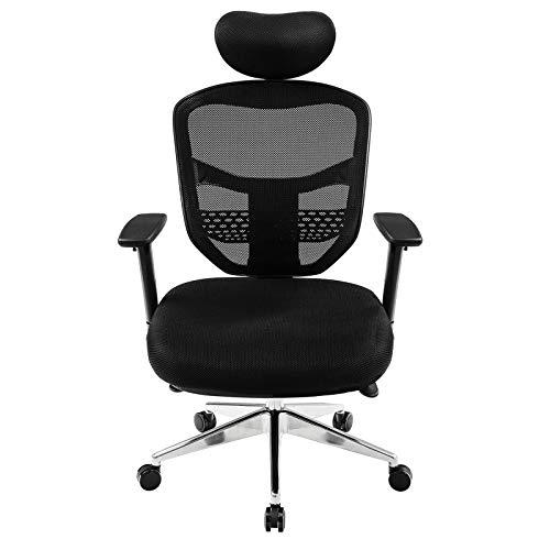 SONGMICS Bürostuhl, ergonomischer Netzstuhl, mit 3D Verstellbaren Armlehnen, höhenverstellbare Rückenlehne, Fußkreuz aus Aluminiumlegierung, OBN63BKUK