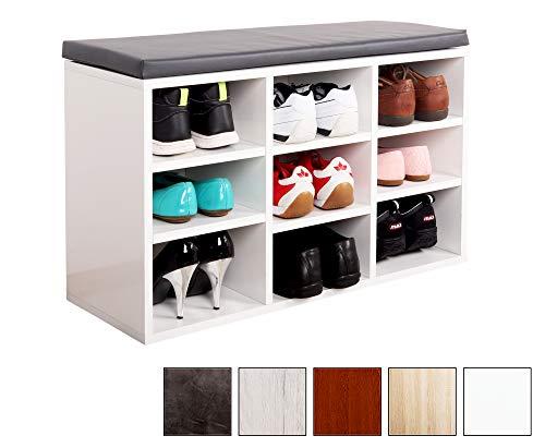 Ricoo scarpiera da ingresso wm035-w-a armadietto armadio con scaffale e scompartimenti panca sedile comodo scarpe ripiano seduta cuscino cassapanca organizer portascarpe salvaspazio in legno bianco
