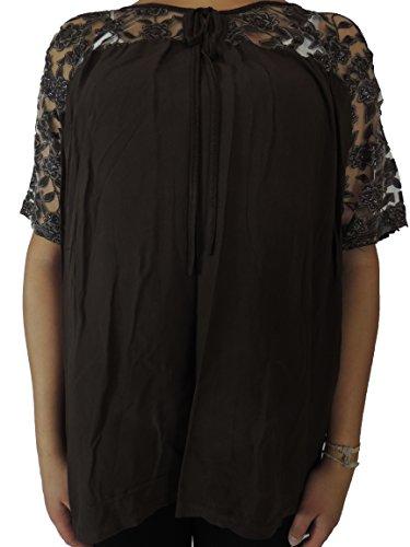 11 Farben zur Auswahl Blusen Shirts mit Bändern vorne Größe 46, 48, 50, 52 Dunkelbraun