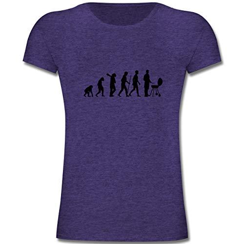Evolution Kind - Grill Evolution - 164 (14-15 Jahre) - Lila Meliert - F131K - Mädchen Kinder T-Shirt