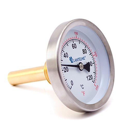 Lantelme Bimetall Analog G 1/2 ' Gewinde 120 °C Grad Silber Thermometer für Heizung – Lüftung – Sanitär – Wasser . Made in Germany, Farbe / Gehäuse:silber / Metallgehäuse - 2