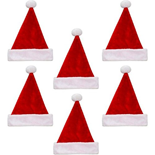 Pack Of 6 Traditional Red&White Christmas Santa Claus' Cap Xmas Hat for Adults and Children
