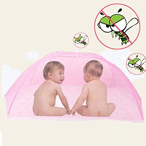 Clode® Baby bewegliches faltendes Moskito Ineinander greifen Haube Vorhang Netz Rosa