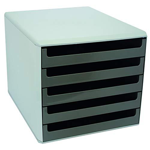 VOSS 30050910 Schubladenboxen - A4, 5 offene Schubladen, hellgrau/dunkel