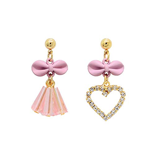 Qingerda Ohrringe hohlen Herz Ohrringe lila Puder Bogen Persönlichkeit asymmetrische Kristall Quaste Ohrringe