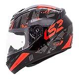 LS2 Full Face Premium Helmet FF 352 PALIMNESIS BLACK WITH MERCURY VISOR (X-Large, BLACK RED MATT)